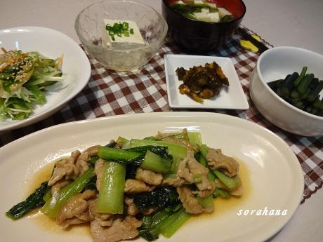 5月6日 豚肉と小松菜にんにく「炒め