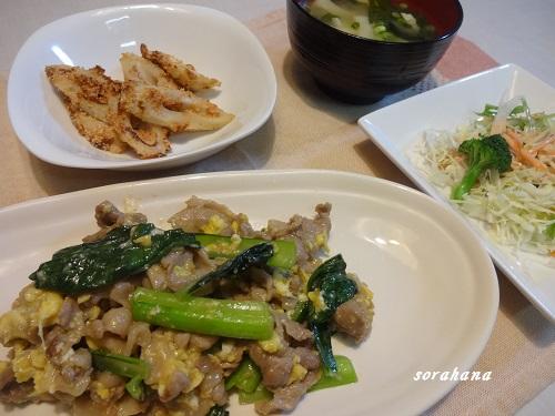 6月9日 豚肉と小松菜の炒め物